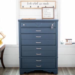 Blue Highboy Dresser with Silver Knobs & Pulls