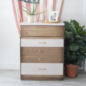 Wood Dresser with Pink Drawers and Top