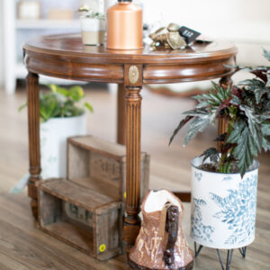 Round Wood End Table with Gold Accents