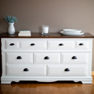 White Dresser / Buffet with Black Cup Pulls