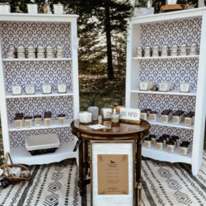White Shelving with Patterned Background